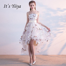 It's YiiYa Strapless Pleat Lace Up High-low Asymmetry Vintage Elegant Flowers Taffeta Prom Gown Dancing Party Prom Dresses LX018(China)