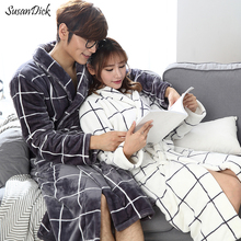 SusanDick 2017 Autumn & Winter Couple Coral Fleece Pajamas Men And Women Winter Robe Thick Warm Flannel Bathrobe Sexy Sleepwear(China)