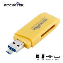 Rocketek 2-in-1 usb 2.0 card reader for pc and micro usb otg for android phone 2 Slots for SD/micro SD/SDXC/SDHC free shipping(China)
