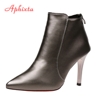 Aphixta Shoes Women Winter Leather Ankle Boots Zip 9cm 7cm High Thin Heels Pointed Toe 2017 Rain Boots Ankle Boots For Women(China)