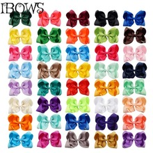 "40Colors 1Pc Girls 5"" Large Grosgrain Ribbon Kontted Hair Bows With Clips Hairpins Hair Accessories For Childrens"