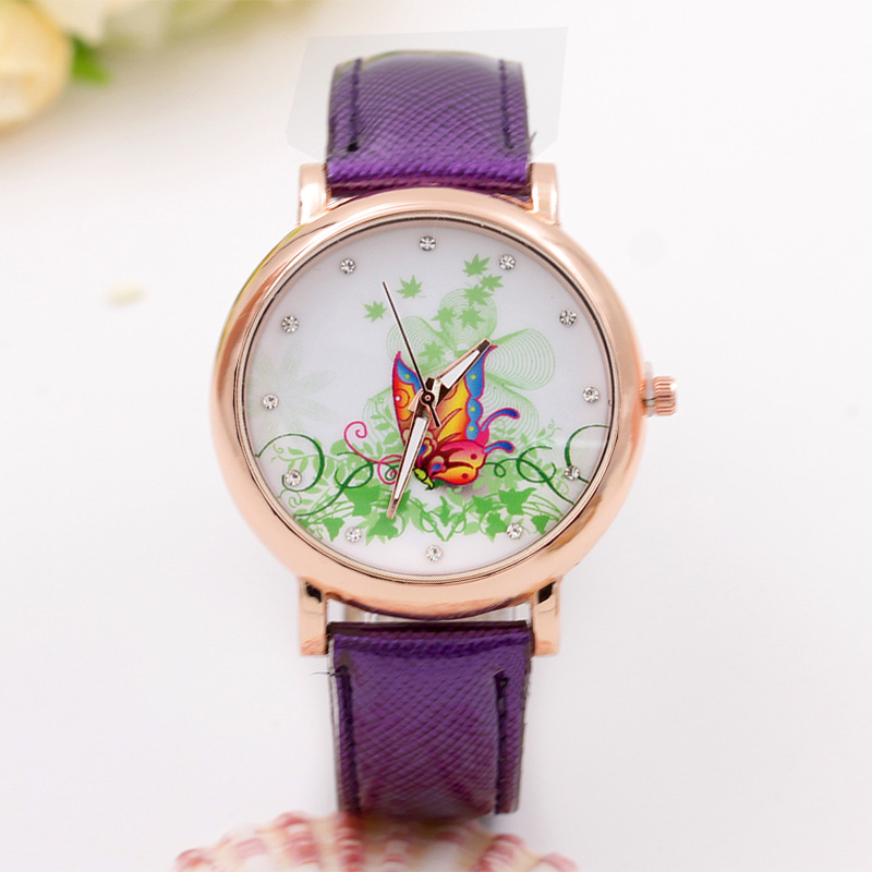 2016 new vine maple leaf butterfly drill leather watch rose gold shell fashion watch<br><br>Aliexpress