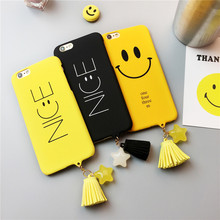 For iPhone 7 Case Smile Nice Face Matte Hard PC Plastic Back Case for iPhone 6 6s 7 Plus Fundas Capa Lovers Star Tassel Cover