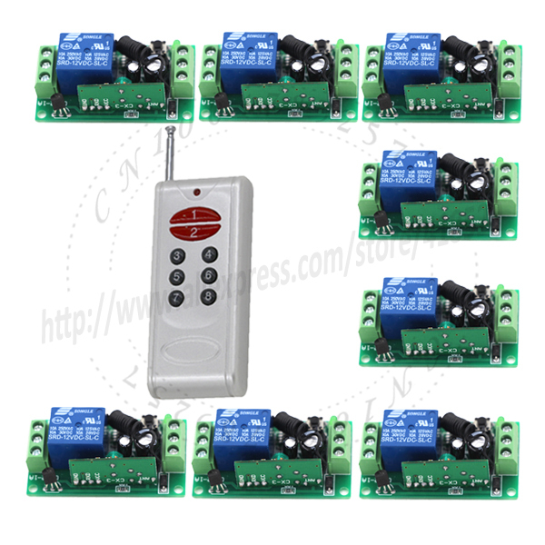 12V 8channel RF Wireless universal remote control 433 mhz 315mhz System 8 receiver +1 transmitter 1000m fixed code SKU: 5107<br>