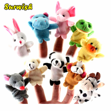 Surwish 10Pcs Soft Plush Cute Animals Finger Puppet Set Children Story Telling Helper Dolls(China)