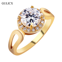 GULICX Fashion Size 8 Jordans Women Halo Big Finger Band Gold-color Ring Round Cut Crystal CZ Zircon Wedding Jewelry R326(China)