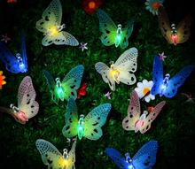 3M 10leds Solar fiber butterfly string light led decoration light colorful waterproof garden light for garden lawn outdoor decor(China)