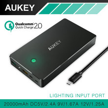 AUKEY 20000mAh Quick Charge 2.0 Power Bank Portable External Battery Charger Dual Output For Smartphones Support Lightning Input