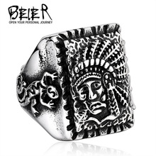 Whosale BEIER Man's Unique Jewelry Stainless Steel India Chief Ring For Man Big Skull Ring BR8-261