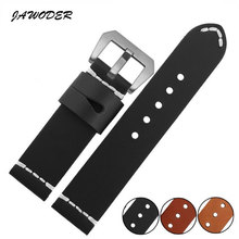 JAWODER Watch band 24mm smooth Manual customization stitches pattern Genuine Leather watch strap stainless steel buckle for PAN(China)