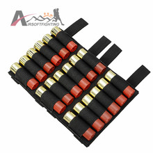 Molle Tactical Ammo Shotgun 12/20 Gauge Shell Buttstock Holder 18 Round Shells Airsoft Military Ammo Cartridge Holder Black Tan#