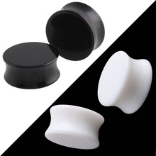 1 Pc Punk Acrylic  Ear Plugs Tunnel 3-30mm Black White Organic Cymophanite Earring Gauges Ear Piercing Ear Flare Flesh Expander