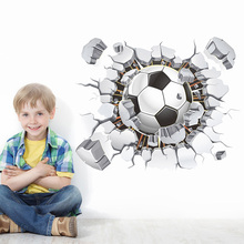 3D Football Soccer Playground Broken Wall Stickers Hole window view home decals wall sticker fit boys room sports decor mural(China)