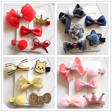 1 set cute bowknot baby girls kids hair clips pin bows barrette hairpin accessories for child hair ornaments hairclip headdress