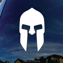 300 Spartan Helmet of King Leonidas 7'' tall die cut vinyl decal for window, car, truck, tool box, laptop, MacBook decals white