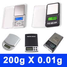 Hot 0.01g X 200g Electronic Digital Mini Pocket Jewelry Weighing Scale LCD with retail box 5 Types Mix 200pcs/lot