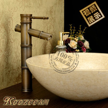 Beightening antique bamboo faucet copper hot and cold fashion vintage antique copper units wash basin faucet(China)