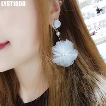 LYST1000 High Quality Fashion Stud Earrings For Women Beauty Big Flower White Pearl Jewelry Beauty Lace(China)