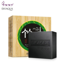 BIOAQUA bamboo charcoal handmade soap skin whitening soap blackhead remover acne treatment face wash hair care bath skin care(China)