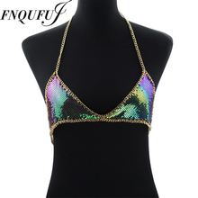 Mesh Sequin Body chain Bra Bikini Body Chain women Statement Metal bra chain bralette Beach Party Harness Necklace(China)