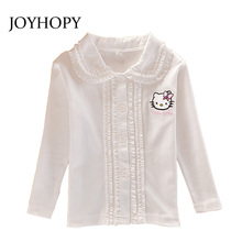 Girls Fashion Blouse Long-sleeve Turn-down Collar Cotton Childrens Shirts Hello Kitty  Kids Tops/Clothes/Clothing Spring Autumn