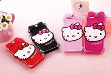 Bowknot Hello Kitty Silicone Case For Coque iPhone 5 5s se 6 6s 6plus Cases Back Cover Luxury Carcasa Cute Funda Capinha hoesjes(China)