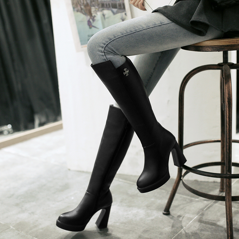 2015 winter Autumn New Side Zipper Knee Boots Women Solid Colors Sequined Round Toe Square Heels Boots Big size 33-40 R1199<br>