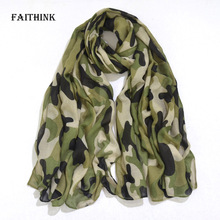 [FAITHINK] Elegant Camouflage Army Green Printed Cape Adult Stole Scarves Women Classic Winter and Spring Warm Ponchos and Capes(China)