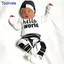 New Arrival European Style Newborn Baby Boy Girl ClothesThree Piece Suit Cap+Trousers+Shirts Pullovers Infantil Clothes Set(China)