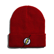LGFD7914b men women Woolen feeling Acrylic Skullies hat Flash embroidery design Warm Knitted Red HipHop beanie(China)