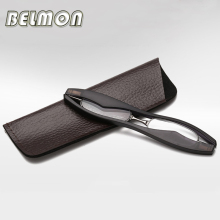 BELMON Mini Folding Magnetic Slim Reading Glasses Foldable Diopter Presbyopic Eyeglasses +1.0+1.5+2.0+2.5+3.0+3.5+4.0 RS025(China)