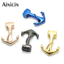 20pcs Anchor Bracelet Making Findings Gold Gun Black Blue Color Plating Fit 5mm Diameter Leather(China)