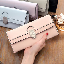 New Arrival Fashion Owl Wallet PU Leather Purse Holder Long Solid Color Purses Lovely Women Wallets Free Shipping 384