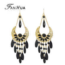 FANHUA Bohemain Jewelry Colorful Bead Chandelier Earrings Brincos New Dangle Earrings for Women(China)