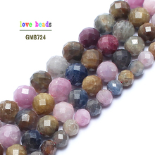 Natural Faceted Rubys Sapphires Stone Beads 15inches Gem Stone Round Beads For Jewelry Making 5/7/8mm Spacer Beads Diy Jewelry