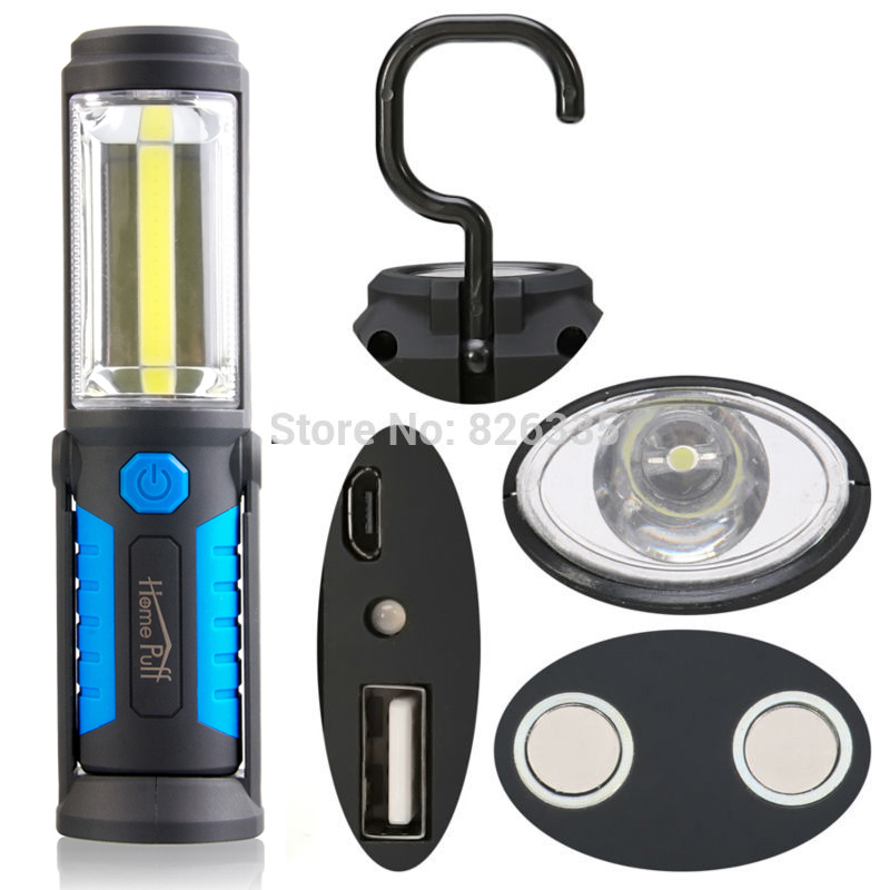 18650 COB Torch Charging Linterns LED Rechargable USB Flashlight Work Light Magnetic HOOK with Mobile Power Function<br><br>Aliexpress