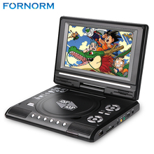 FORNORM K Portable 7.8'' DVD Player with 7 Inch TFT Display Screen 270 Rotating Game Analog TV USB SD Card Slots MP3 CD VCD Play(China)