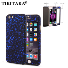3D Stars Matte 360 Case For iPhone 5 5s SE 6 6s 7 Plus Capa Ultra Thin Hard Frosted Full Body Coverage Phone Cases + Glass Film(China)