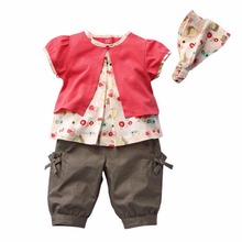 Autumn Fashion Cute 3 Pcs/Set Kids Baby Girls Colored Red Fruits Pattern Top+Pants+Hat Set Outfits Clothes