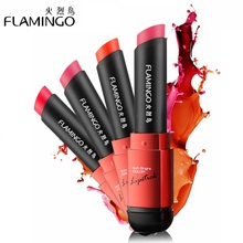 Free Shipping Flamingo Food Grade Healthy Moisturizer Smooth Silky 6 Color Long Lasting Weightless Gentle Velvet Matte Lipsticks(China)