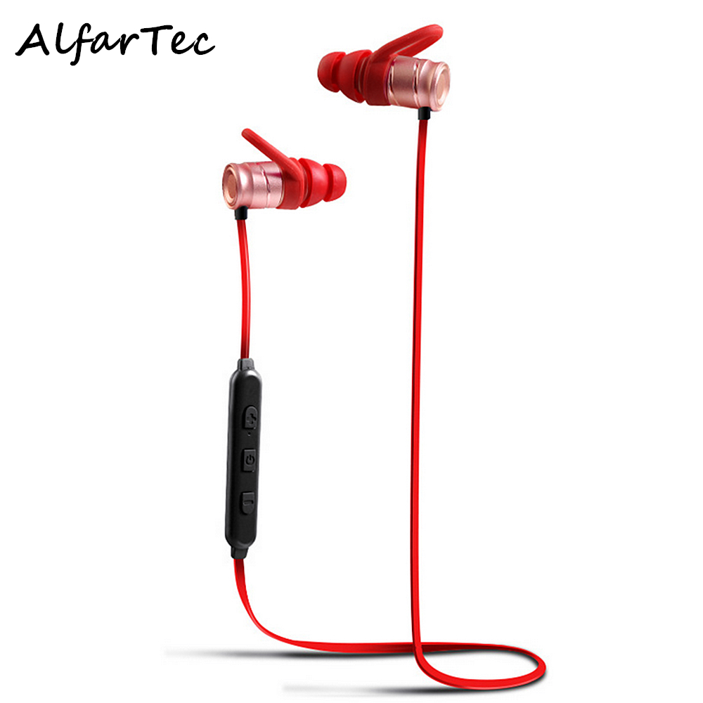 Waterproof Metal Sport Magnet Wireless Bluetooth Earphone Stereo Noise Isolating Voice Control Earpiece With Mic For Smart Phone<br>