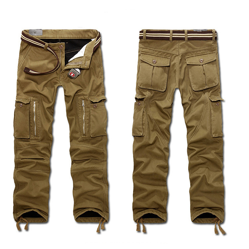 Winter Thicken Warm Full Length Trousers Mulit Pocket Military Baggy Plus Size Tactical Army Pants for Men<br>