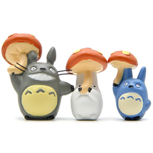 3pcs/lot Totoro Toys Miyazaki Hayao My Neighbor Totoro Pick up Mushroom Mini Figure Toy Resin Action Figure Collection Model Toy