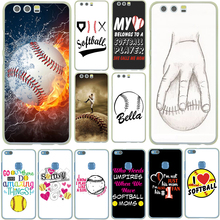 Fire Yellow Softball baseball Water Hard Cover Case for Huawei P10 P9 Lite Plus P8 P7 G7 Honor 8 Lite 7 6 4C 4X Coque Shell
