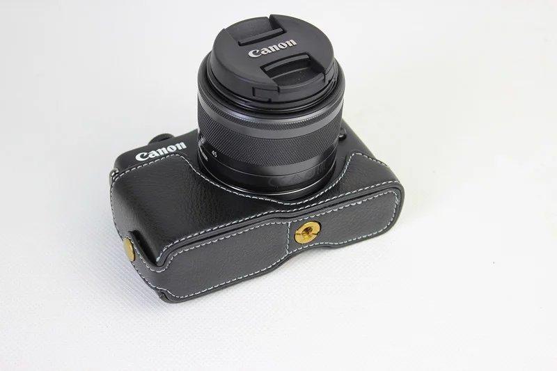 Caso de cámara de Cuero Genuino Real Medio Bolso Cubierta Para Canon G7X Mark II M2 M II 7