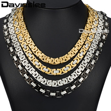 Davieslee Stainless Steel Mens Gold Necklace Byzantine Chain Fashion Jewelry DLKNM27(China)