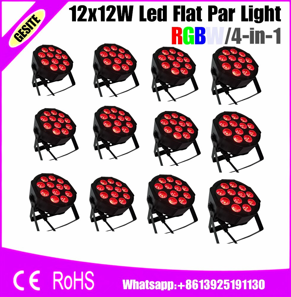 12pcs/lots 12pcs LED Par Light 12x12 RGBW 4IN1 LED Luxury DMX Led Flat dj<br>
