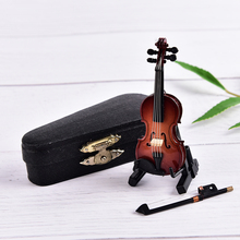 8cm New Wooden Musical Instruments Collection Decorative Ornaments Model Decoration Gifts Hot Mini Violin With Support Miniature(China)