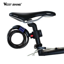 WEST BIKING Tonyon Bike Lock 4 Digit Code Combination Bicycle Security Lock 1200mm x 8 mm Steel Cable Spiral Bike Cycling Lock