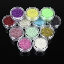 12pcs/set Colorful Mixed Caviar Nail Beads Glass Trend Caviar Nail Art Decorations Micro Beads 3D Nail Accessories WY520(China)